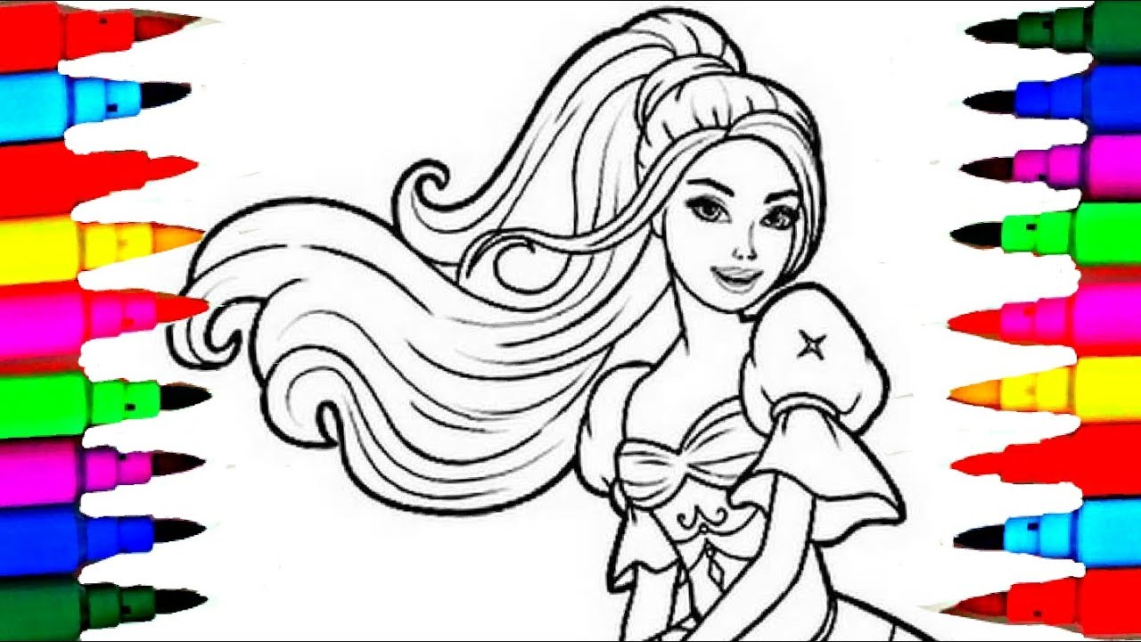 Barbie Princess For Girls Coloring Sheet Coloring Pages For Children How To Color And Learn Coloring Youtube