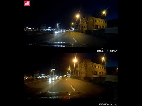 XiaoMi Yi Car DVR 1296p (interpolated) vs Viofo A119 1440p (real) night test