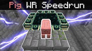 Minecraft Speedrun World Record, but it's re-run by a Pig...