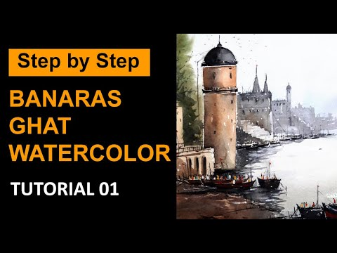 Step by Step Watercolor Painting demo by Somnath Patra of Banaras Ghat|