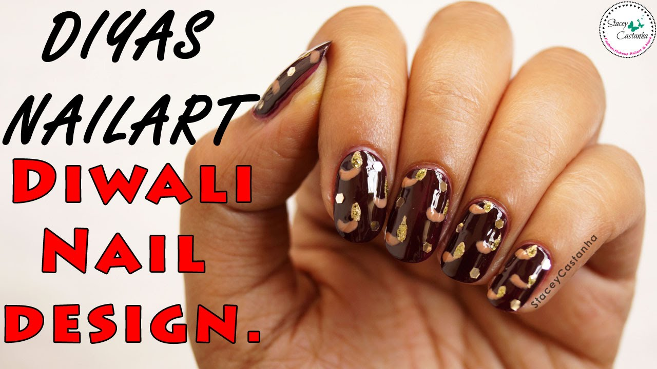 Diwali diya nail art tutorial easy festive nail design india diwali diya nail art tutorial easy festive nail design india youtube prinsesfo Images