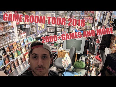 GAMEROOM TOUR 2018! 2000+ VIDEO GAMES AND MORE! - Gnarlyneeks