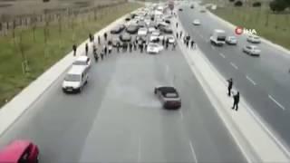 """İstanbul'da ultra lüks otomobilli düğün konvoyunda """"drift"""" terörü"""