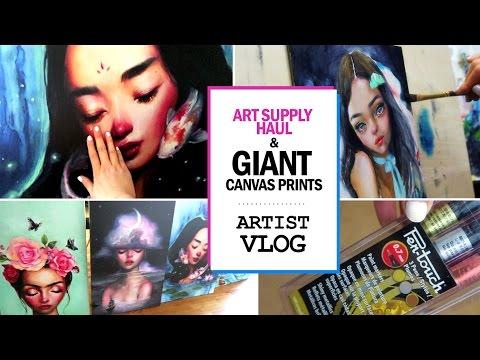 GIANT CANVAS PRINTS & art supply haul // ARTIST VLOG 14