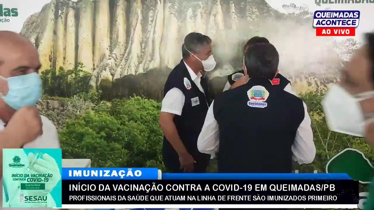 PROFISSIONAIS DA SAUDE SÃO VACINADOS EM QUEIMADAS PB