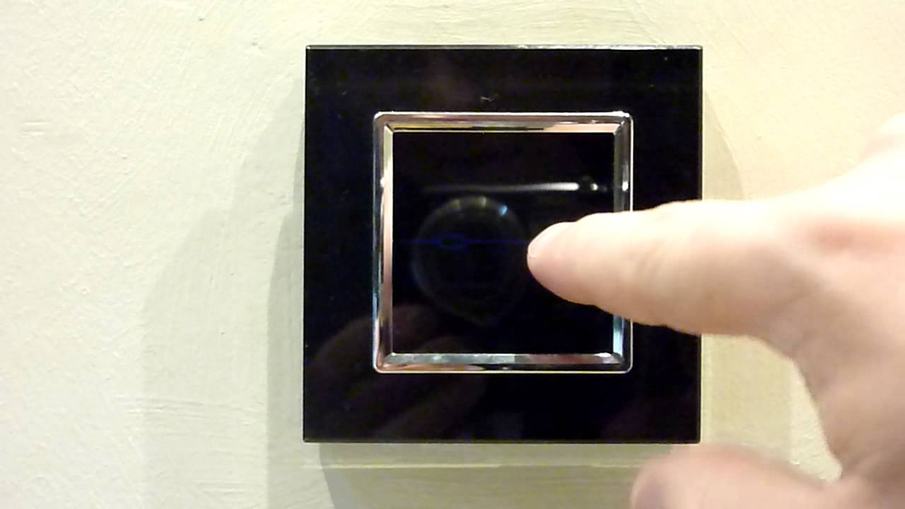 Black Glass Touch Light Switch 2 Gang 1 Way Youtube