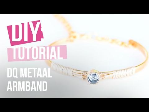 Sieraden maken: Armband van DQ metaal met Swarovski en Macramé ♡ DIY