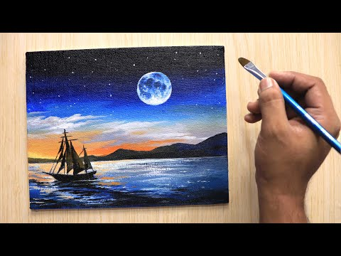 Acrylic painting of beautiful Moonlight night sky with ship step by step