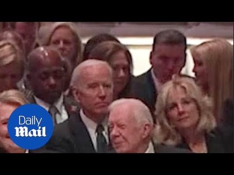 Chelsea Clinton and Ivanka Trump chat at George H.W. Bushs funeral