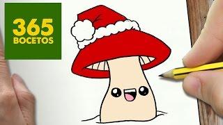 COMO DIBUJAR UNA SETA PARA NAVIDAD PASO A PASO: Dibujos kawaii navideños - How to draw a Mushroom