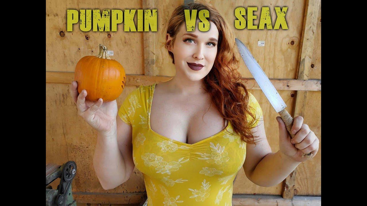 CUT TEST!! pumpkin vs SEAX. Germanic Bloom Steel Seax part 2