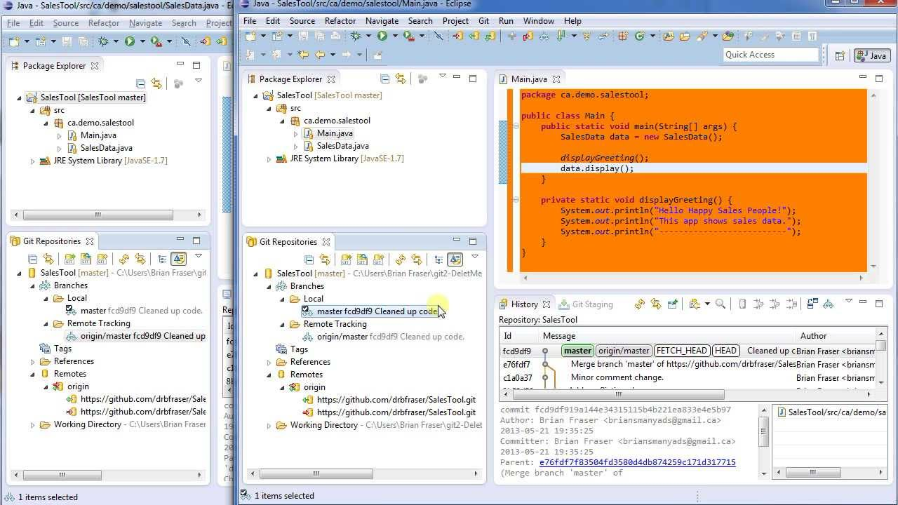 Remote Git Server and Merging:Git & Eclipse