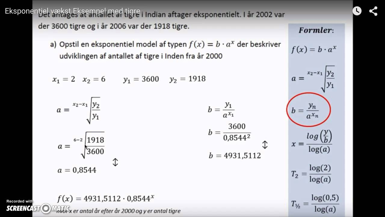 Matematik - fremlæggelse med ligninger