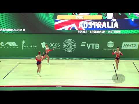 Australia (AUS) - 2018 Aerobic Worlds, Guimaraes (POR) - Trio Qualifications