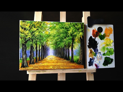Tree Lined Road Deciduous in Acrylics