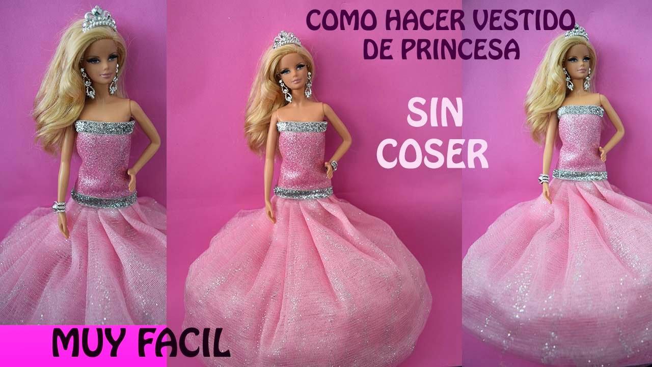 COMO HACER VESTIDO DE PRINCESA SIN COSER/ MUY FACIL - YouTube