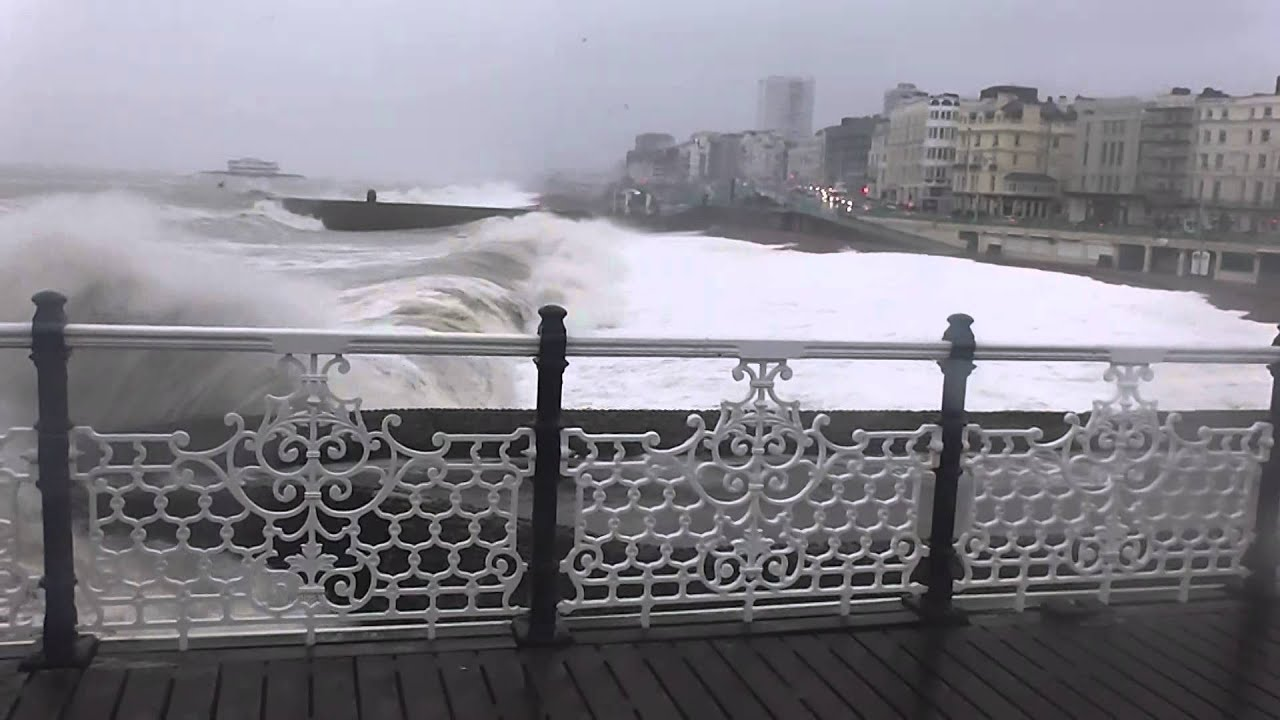 stormy sea in brighton - YouTube
