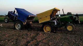 farmtrac 60 epi व johndeere ट्रैक्टर टोचन देखो मस्त टोचन