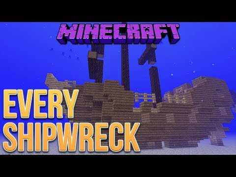 Minecraft 1.13 Every Shipwreck Type (Update Aquatic)
