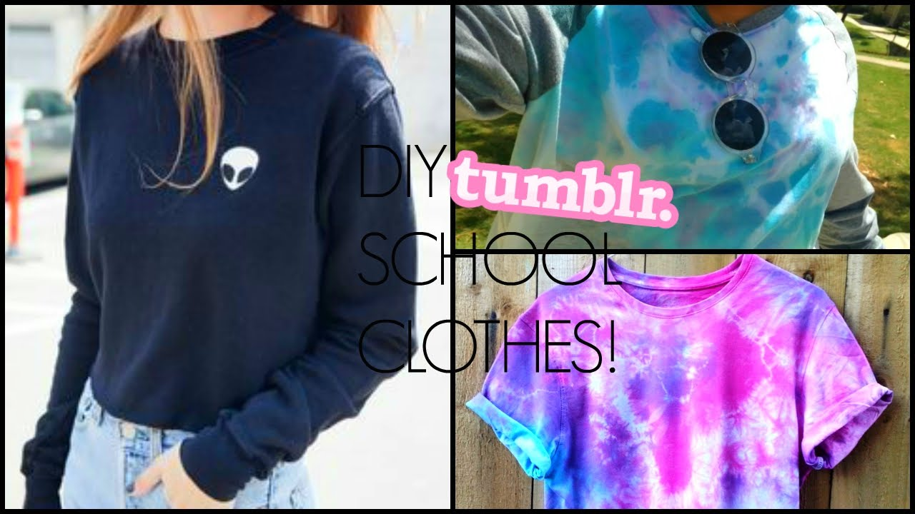 DIY: Tumblr inspired school clothes! // alien sweater, tie ...
