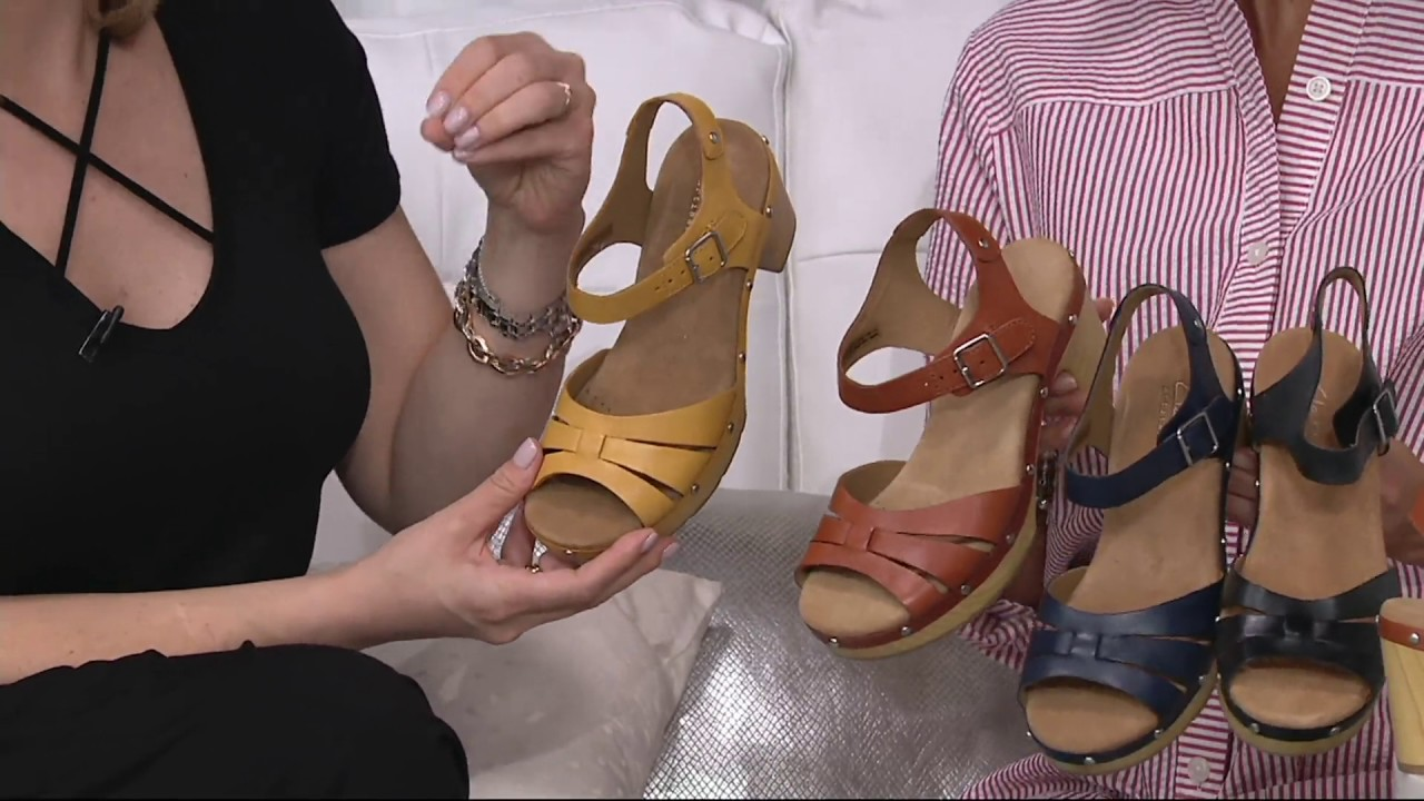 64c8ecd4d88 Clarks Artisan Leather Clog Sandals - Ledella Trail on QVC - YouTube