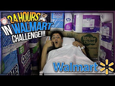 24 HOUR OVERNIGHT CHALLENGE IN WALMART! ⏰INSANE TOILET PAPER FORT! (KICKED OUT)😳
