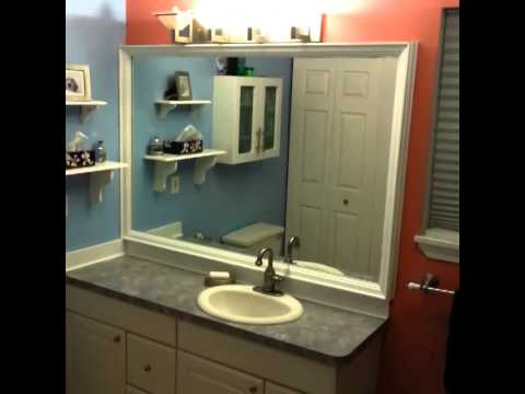 DIY Custom Bathroom Mirror Frame With Backsplash Using Crown Molding