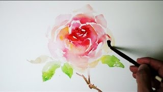 How to paint a rose easy in watercolor  - JayArt
