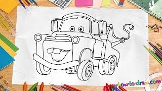 How to draw Mater Easy step by step drawing lessons for kids