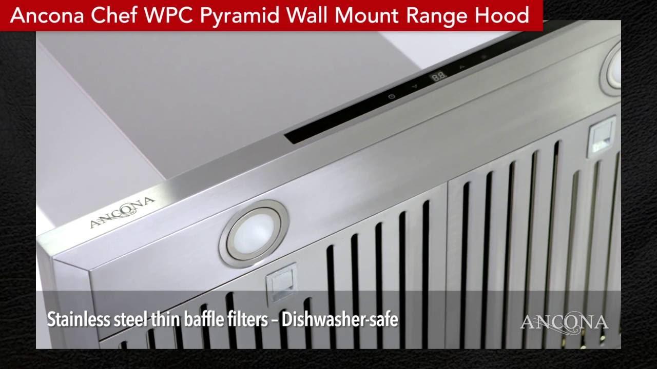 ancona wpc430 wpc436 30 36 pyramid range hood stainless steel
