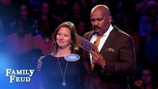 Wow! 56 points on her final answer! | Family Feud