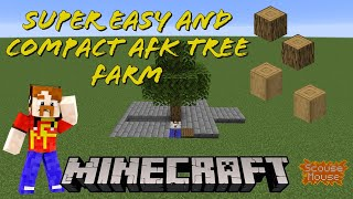 SUPER EASY Minecraft compact AFK TREE FARM tutorial (works in 1.15.2 and 1.16