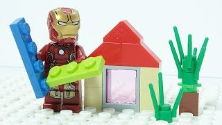 LEGO IRON MAN Brick Building Summer House Superheroes Animation for Kids