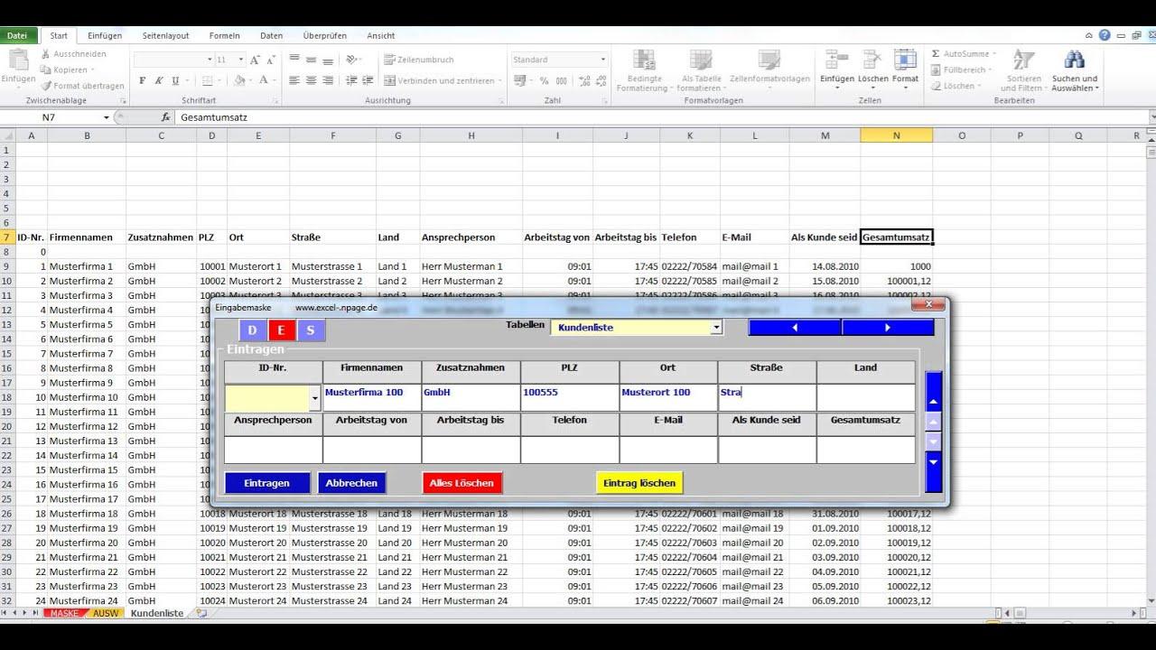 Datenbanken In Excel Aus Einer Eingabemaske Mit Zuweisung Von