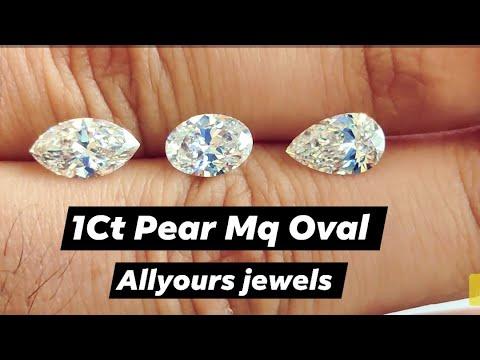 1ct pear mq oval diamond compare size on finger - live