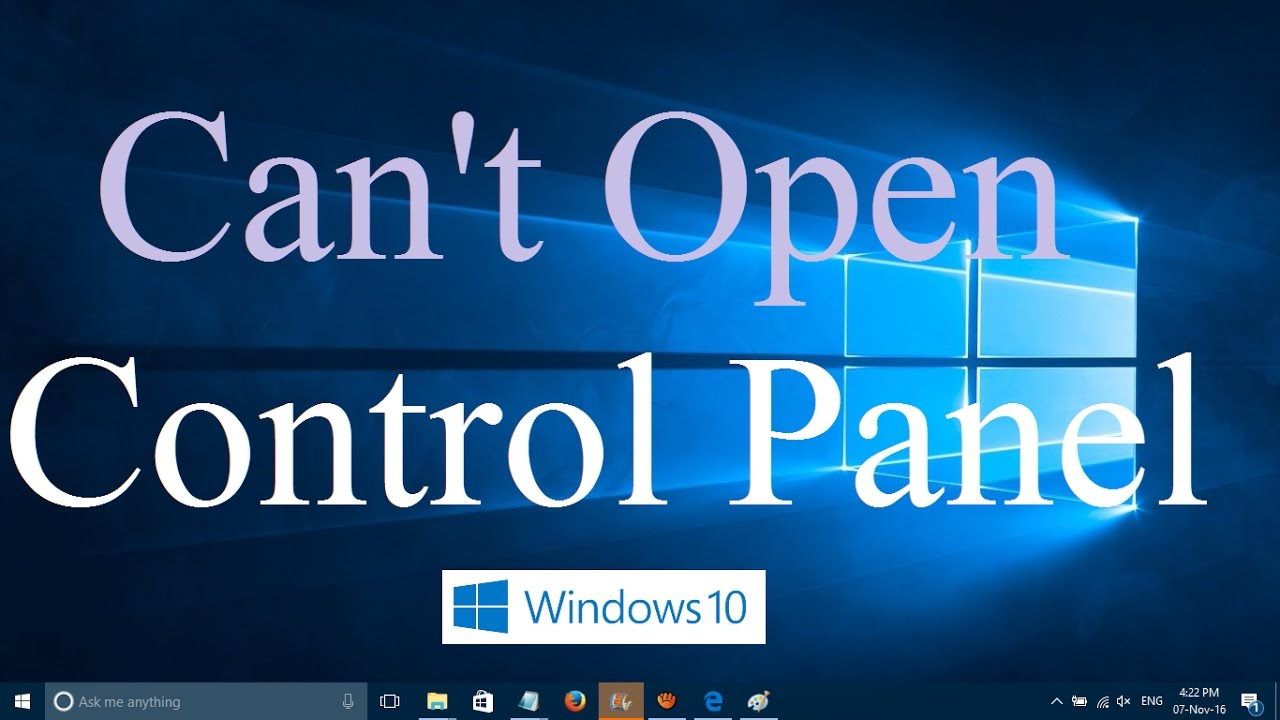 cannot open control panel win10