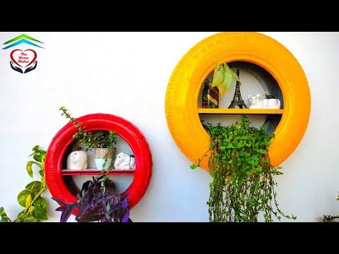DIY    Waste Tyre Shelf Planter    Waste Material Planter    Easy shelf Making ideas