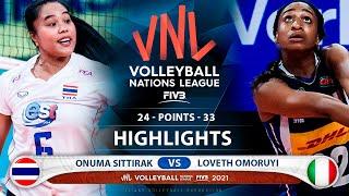 Onuma Sittirak vs Loveth Omoruyi   Thailand vs Italy   Highlights   VNL 2021 (HD)
