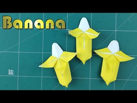 Origami Banana Tutorial   Easy Banana Origami 3D Paper Craft Fruits   Diy Paper Folds