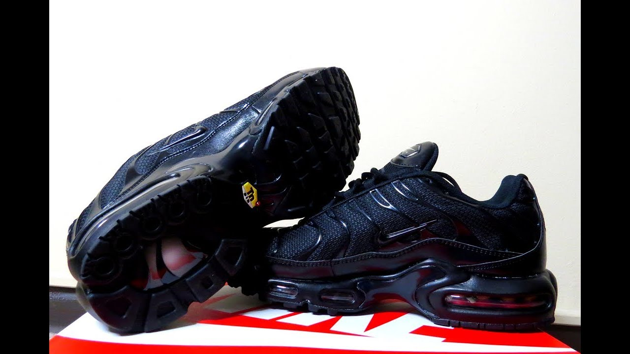 Nike Air Max Plus  Triple Black  Unboxing   On Foot Review - YouTube bc7c168e3