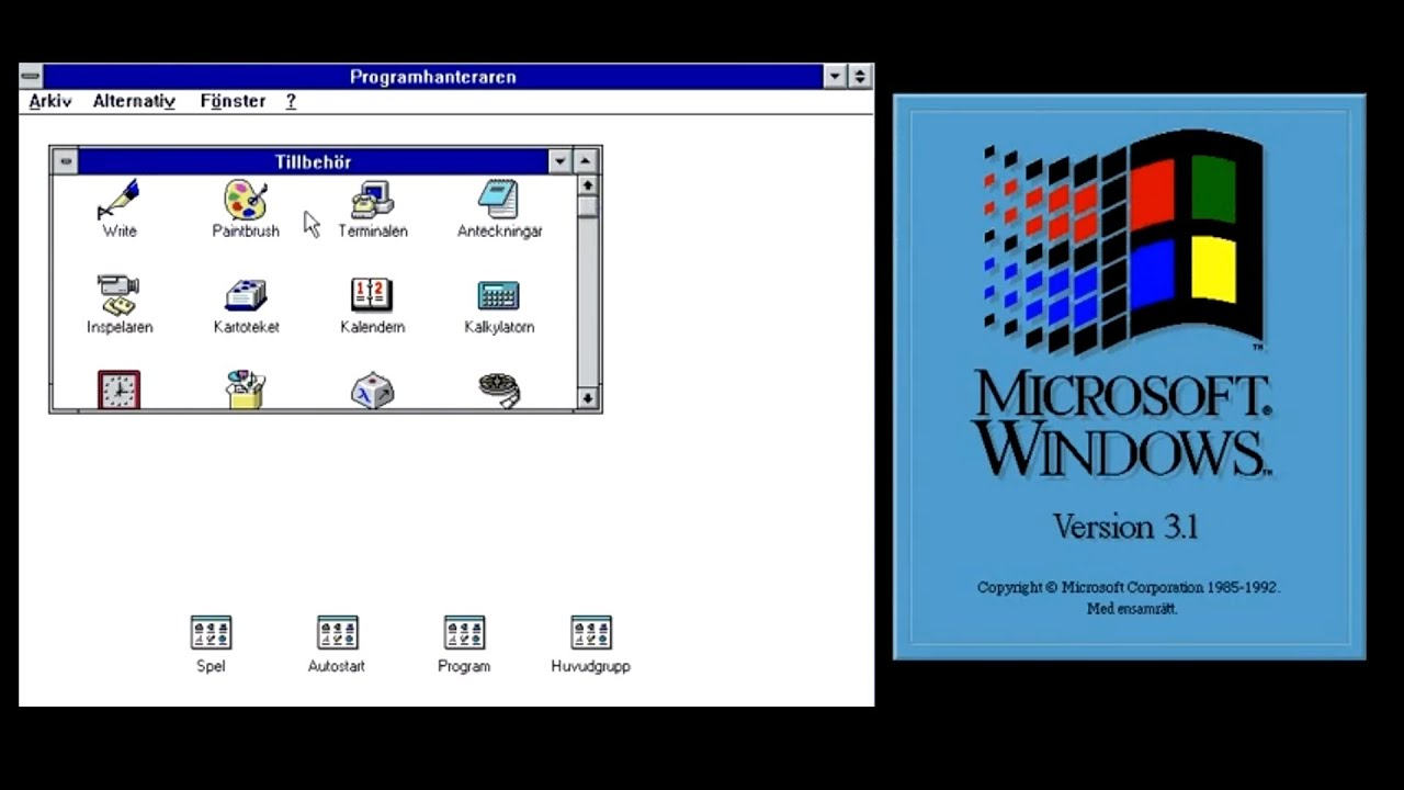 Microsoft windows 3 1 swedish svensk version youtube for Latest windows version