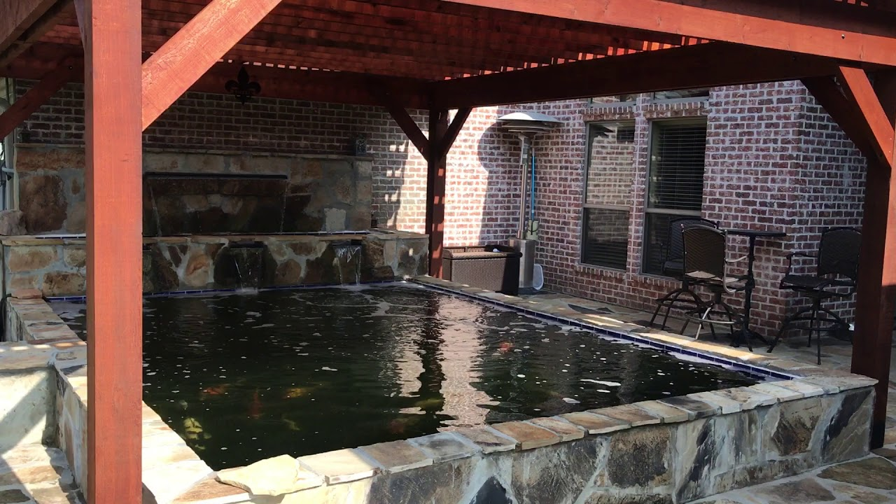 Koi pond with pergola cover youtube for Koi pool cover