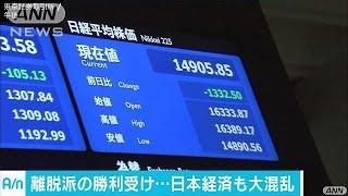 離脱派過半数に日本経済混乱 麻生氏、為替介入示唆(16/06/24)