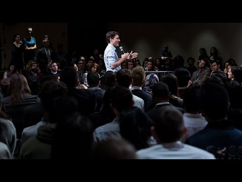 Prime Minister Trudeau speaking to students at New York University (NYU)