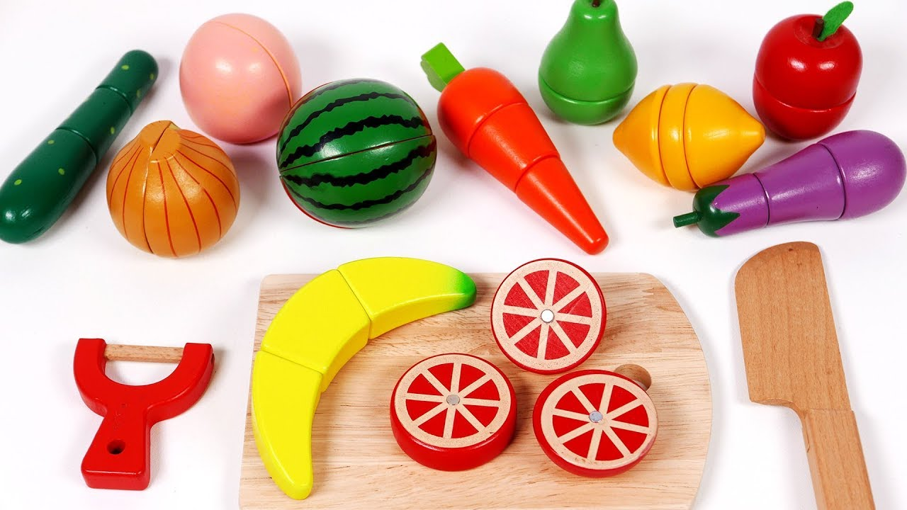 Toy Food For Toddlers : Cutting fruit and vegetables play pretend food for kids