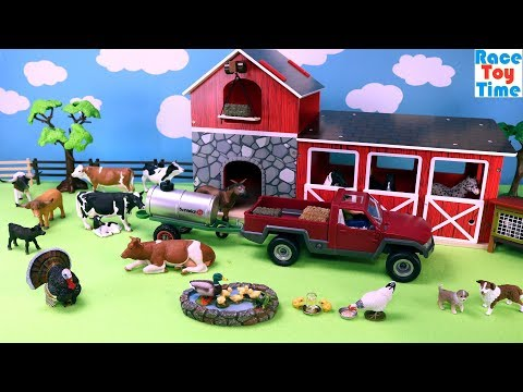 Schleich Rabbit Hutch and Water Trailer Playsets Plus Farm Animals Toys For Kids