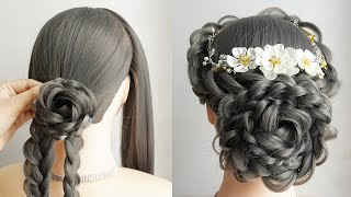 Messy Bun Updo With Braid Hairstyle For Wedding Bridal Hairstyle Tutorial Simple Hairstyle Ideas