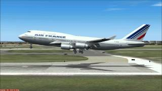 FS9: PMDG 747-400 Queen of the Skies. Landing to Paris [HD]