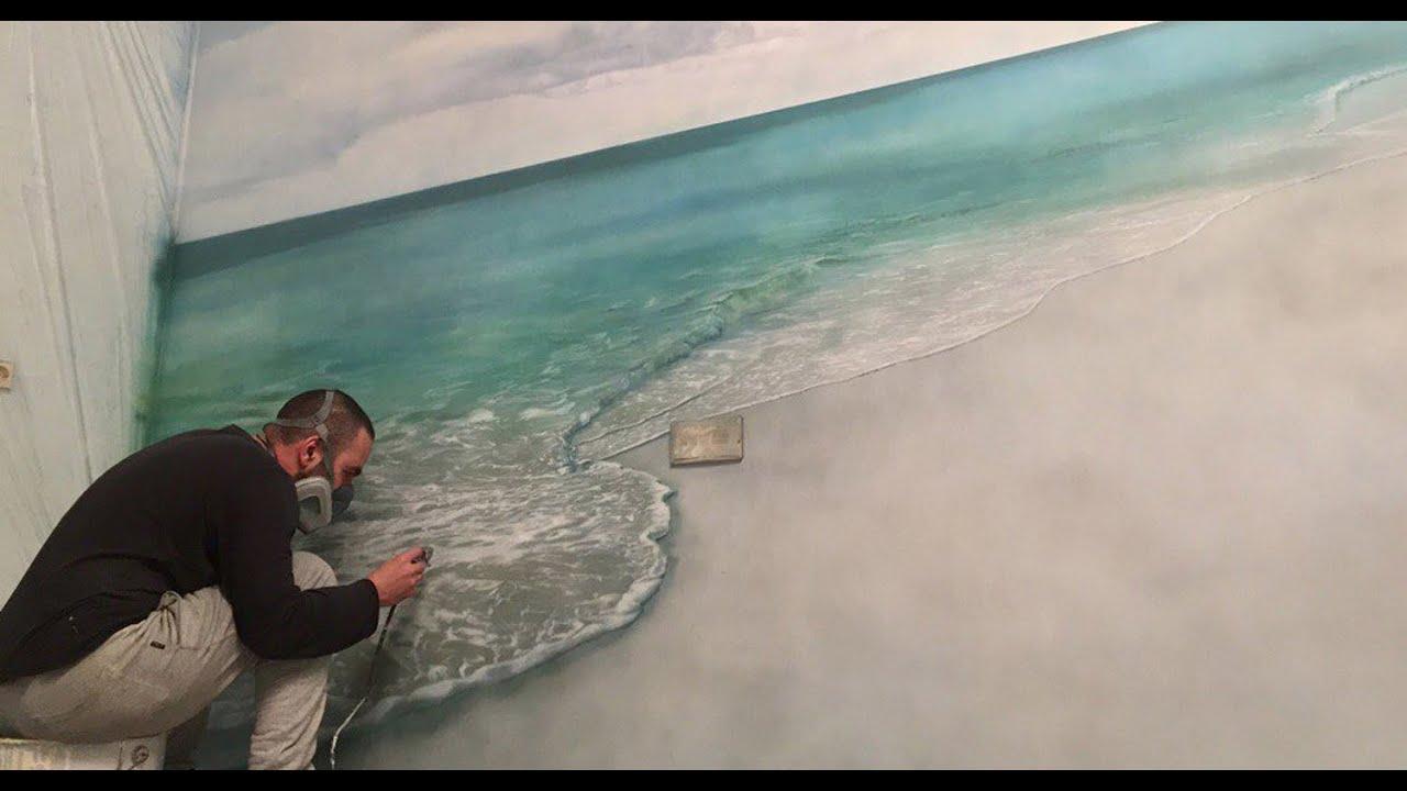 Художественная роспись,аэрография в интерьере,рисования на стене   моря, пальмы, пляж. Aerography