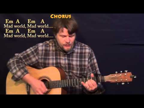 Mad World (Tears for Fears) Strum Guitar Cover Lesson with Chords/Lyrics - Capo 2nd